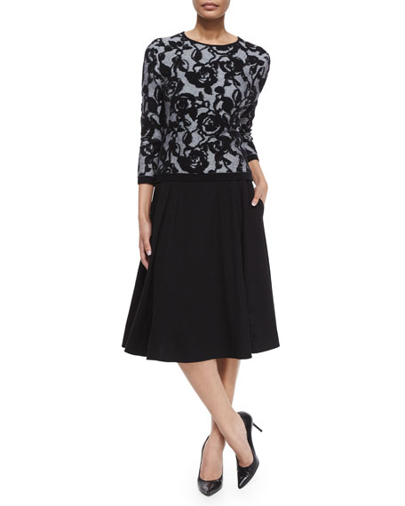 Mid-Length Circle Skirt, Black