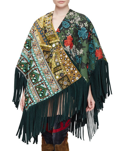 Embellished Patchwork Poncho W/Fringe, Dark Forest Green