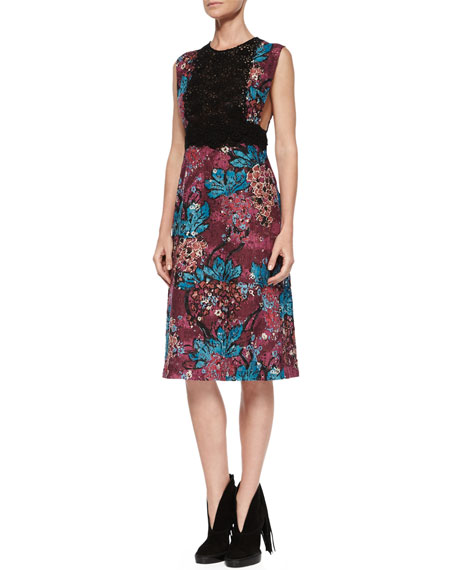 Burberry Brit Sleeveless Layered-Lace Dress, Elderberry