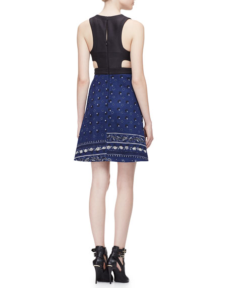Sleeveless Paisley-Quilted Waistcoat Dress, Indigo