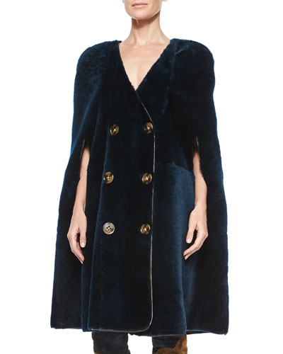 Double-Breasted Shearling Fur Cape, Navy
