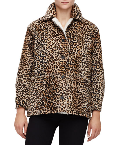 Leopard-Print Fur Button-Front Jacket, Camel