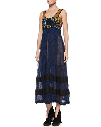Sleeveless Mirror-Embellished Dress, Navy