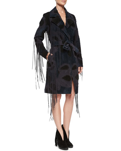 Patchwork Trenchcoat W/Fringe Trim, Navy