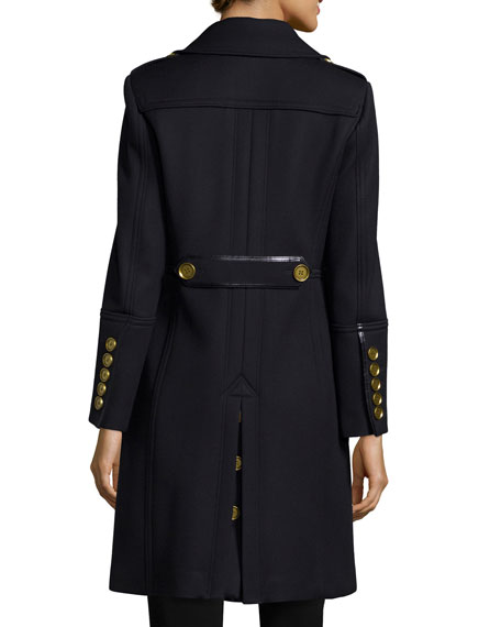Burberry Brit Double-Breasted Military-Style Trenchcoat, Navy