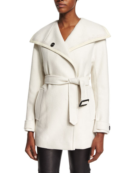 Oversized-Collar Waterfall Coat, Natural White