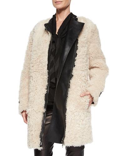 Long-Sleeve Shearling Fur Coat, Natural White