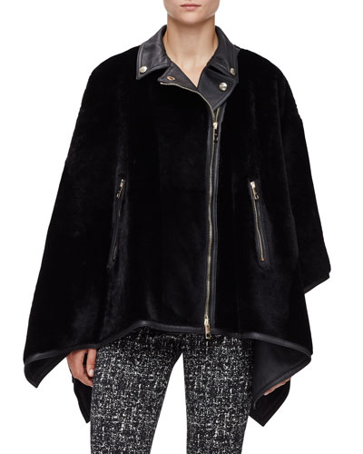 Shearling Fur Zip-Front Biker Poncho, Black