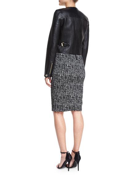 Paneled Cropped Leather Jacket, Black