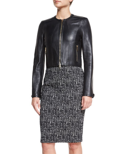 Paneled Cropped Leather Jacket, Black