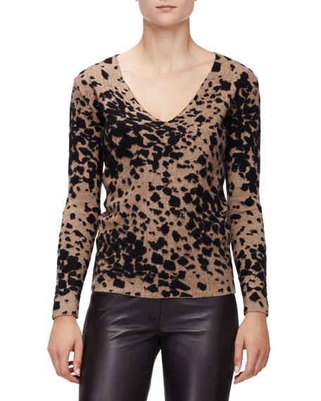 Burberry London Long-Sleeve V-Neck Sweater, Camel