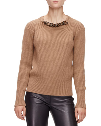 Ribbed Sweater W/Horn-Chain Neckline, Camel