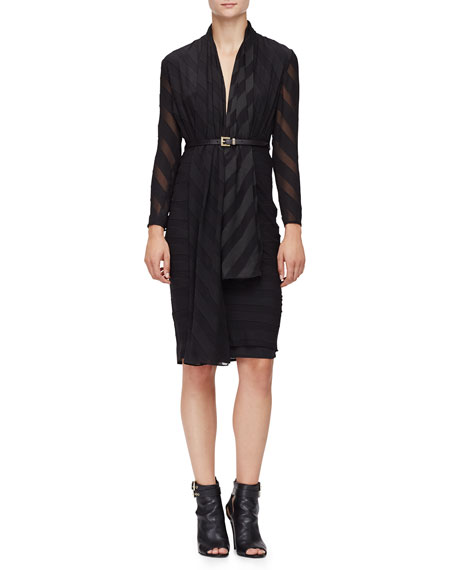 Burberry London Long-Sleeve Wide-Stripe Belted Dress, Black