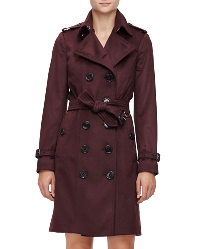 Double-Breasted Cashmere Trenchcoat, Plum