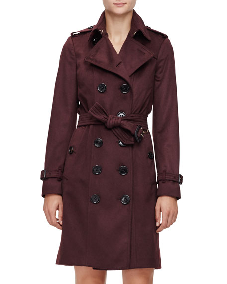 Burberry London Double-Breasted Cashmere Trenchcoat, Plum
