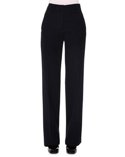 Slim Flared-Leg Gabardine Pants, Navy