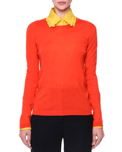 Cashmere/Silk Knit Sweater, Bright Orange