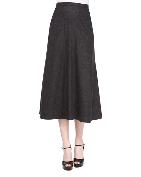 Michael Kors Collection Flannel Trumpet Midi Skirt, Charcoal