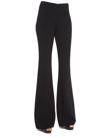 Michael Kors Collection High-Waist Flared Wool Pants, Black