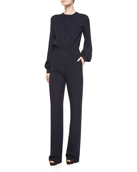 Michael Kors Long-Sleeve Pleated-Front Jumpsuit, Navy