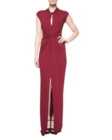 Michael Kors Cap-Sleeve Twist-Front Gown, Claret