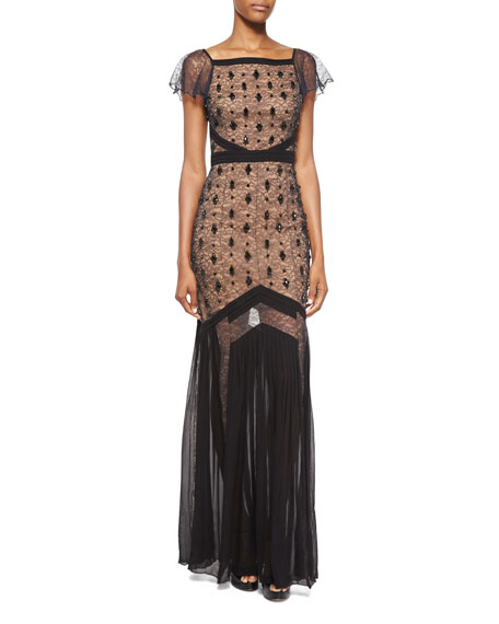 Michael Kors Collection Flutter-Sleeve Embroidered Lace Gown,