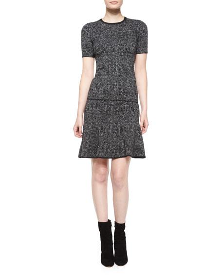 Flirt-Hem Tweed Skirt, Charcoal Melange