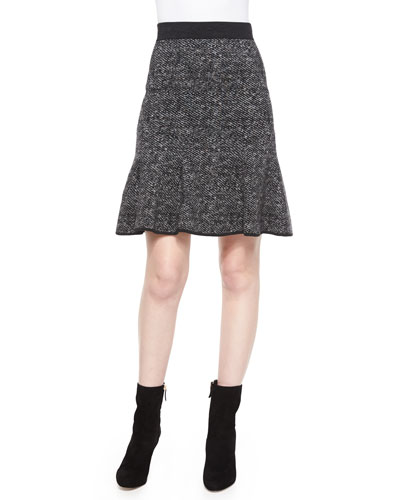 Flirt-Hem Tweed Skirt, Charcoal Melange