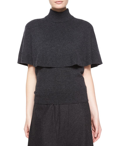 Cashmere Capelet & Crewneck Top, Two-Piece Set, Charcoal Melange