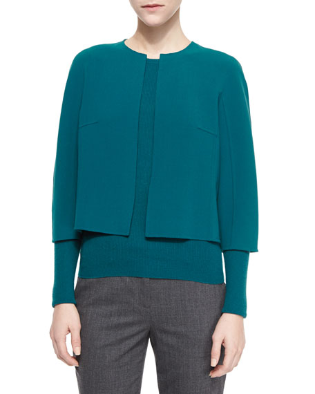 Michael Kors Collection Cropped Stretch-Wool Crewneck Jacket, Peacock
