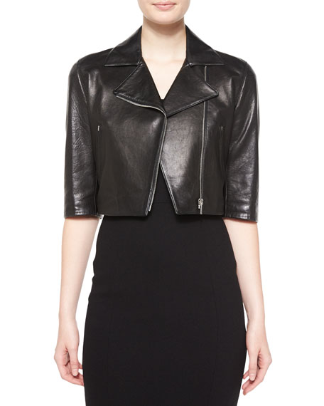 Michael Kors Collection Half-Sleeve Crop Leather Jacket, Black