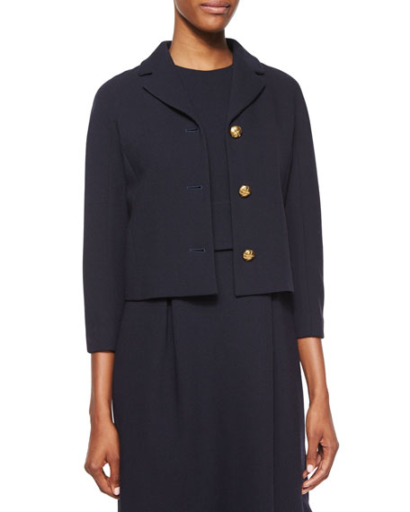 Michael Kors Collection 3/4-Sleeve Knot-Button Jacket, Navy