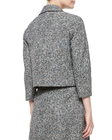 3/4-Sleeve Tweed Jacket, Black/White