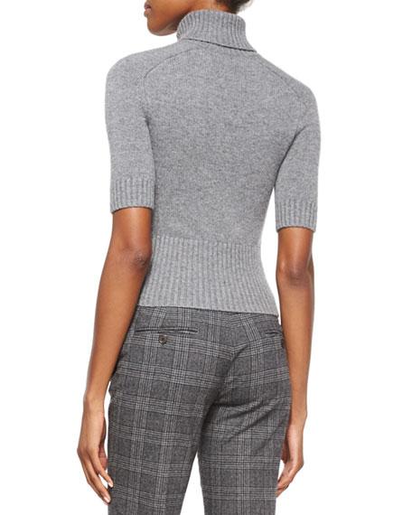 Half-Sleeve Cashmere Turtleneck Sweater, Banker Melange