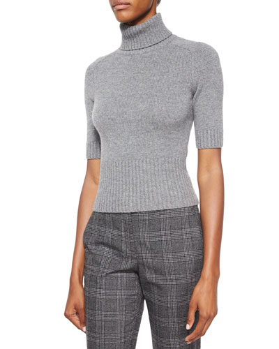 Half-Sleeve Cashmere Turtleneck Sweater, Banker Melange