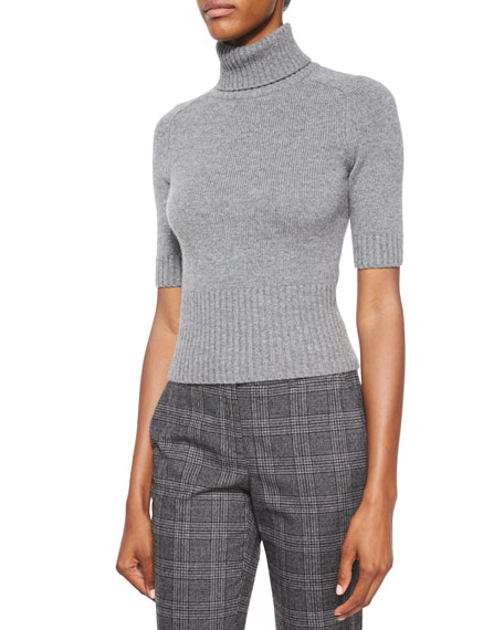 Michael Kors Collection Half-Sleeve Cashmere Turtleneck Sweater,