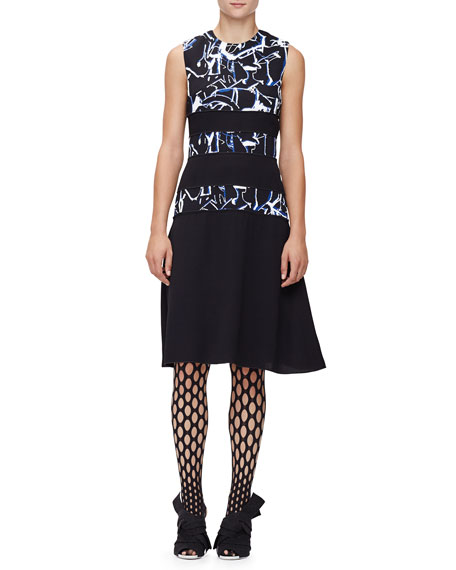 Proenza Schouler Sleeveless Scribble-Print Dress, Black/Indigo