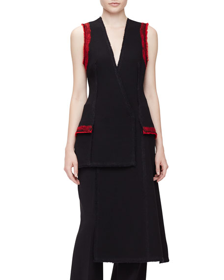 Proenza Schouler Sleeveless Needle-Punch Vest, Black