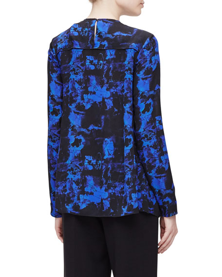 Long-Sleeve Scribble-Print Blouse, Indigo Graffiti