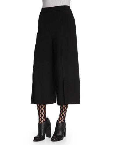 Wide-Leg Culotte Pants, Black
