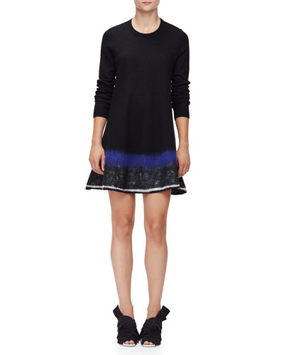 Long-Sleeve Needle-Punch Dress, Black/White/Indigo