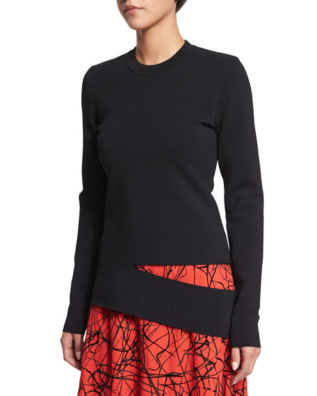 Proenza Schouler Long-Sleeve Slash Sweater, Black