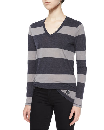 Long-Sleeve V-Neck Striped Tee