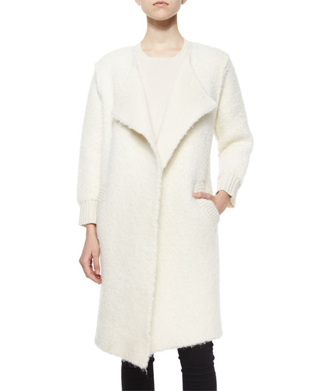 Burberry Brit Natural Boucle Alpaca-Blend Topper Coat