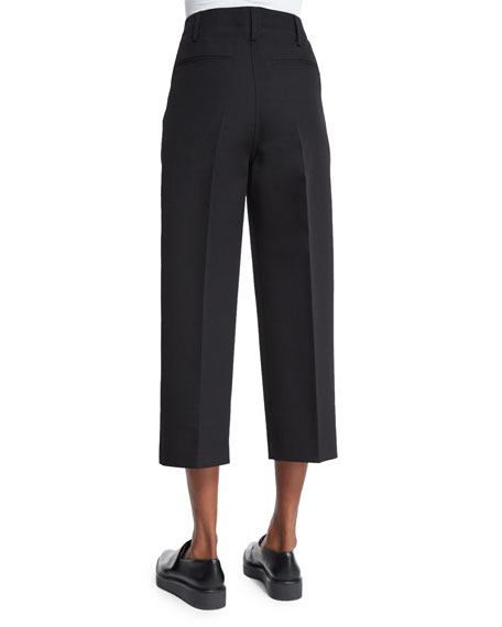 Wide-Leg Cropped Skater Pants, Black