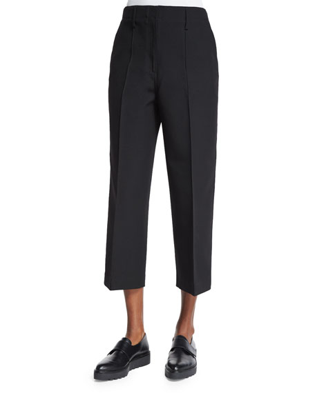 Edun Wide-Leg Cropped Skater Pants, Black