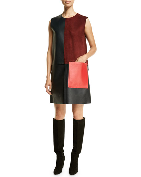Edun Sleeveless Patchwork Shift Dress, Navy