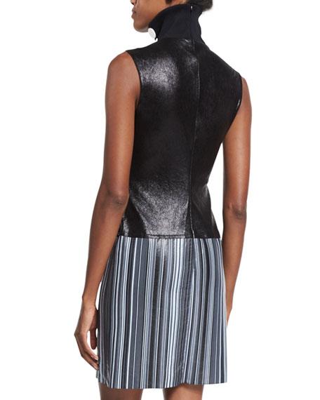 Sleeveless Turtleneck Leather Dress, Black