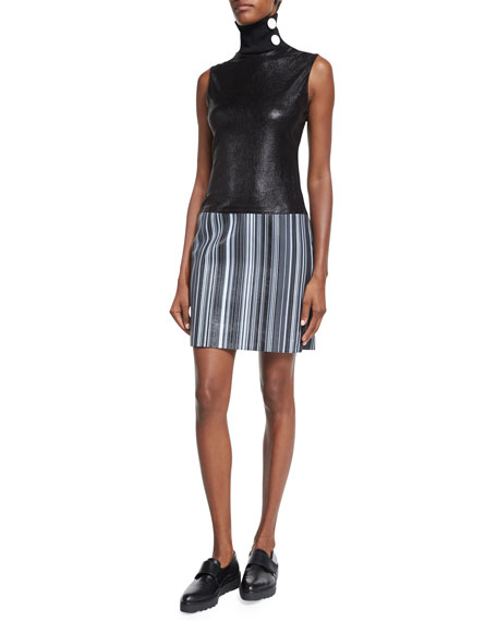 Edun Sleeveless Turtleneck Leather Dress, Black