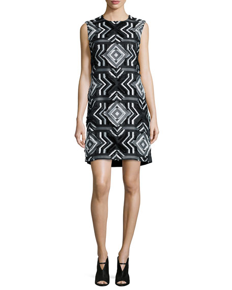EdunSleeveless Moroccan-Tile Sheath Dress, Black